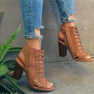 Camel chunky heels